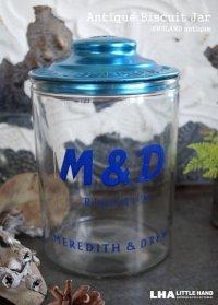【RARE】 ENGLAND antique MEREDITH & DREW ガラスビスケットジャー M&D 1930's