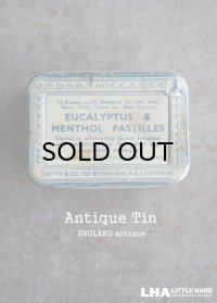 ENGLAND antique EUCALYPTUS & MENTHOL PASTILLES TIN ブリキ缶 1930-50's