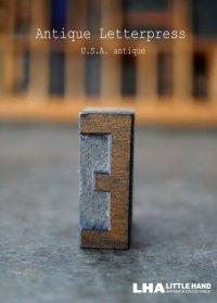 U.S.A. antique アメリカアンティーク 木製プリンターブロック【E】 H3.4cm スタンプ はんこ 数字 1900-40's