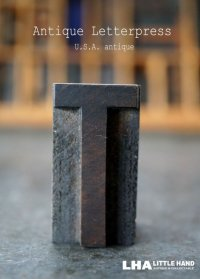 U.S.A. antique アメリカアンティーク 木製プリンターブロック【T】 H4.2cm スタンプ はんこ 数字 1900-40's