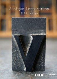 U.S.A. antique アメリカアンティーク 木製プリンターブロック【v】 H5cm スタンプ はんこ 数字 1900-40's