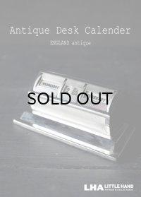 ENGLAND antique イギリスアンティーク 万年 デスクカレンダー 1950-60's 卓上 メカニカルカレンダー 暦 シルバー