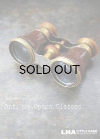 ENGLAND antique イギリスアンティーク 真鍮・レザーカバー オペラグラス ブラス Opera Glasses 双眼鏡 1900-30's
