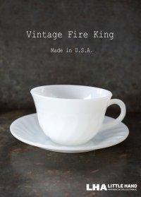 【Fire-king】 ファイヤーキング ホワイト スワール カップ&ソーサー C&S 1951-60's