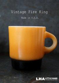【Fire-king】 ファイヤーキング スタッキング 橙・黒 1960's
