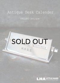 ENGLAND antique イギリスアンティーク 万年 デスクカレンダー 1950's 卓上 メカニカルカレンダー シルバー ヴィンテージカレンダー