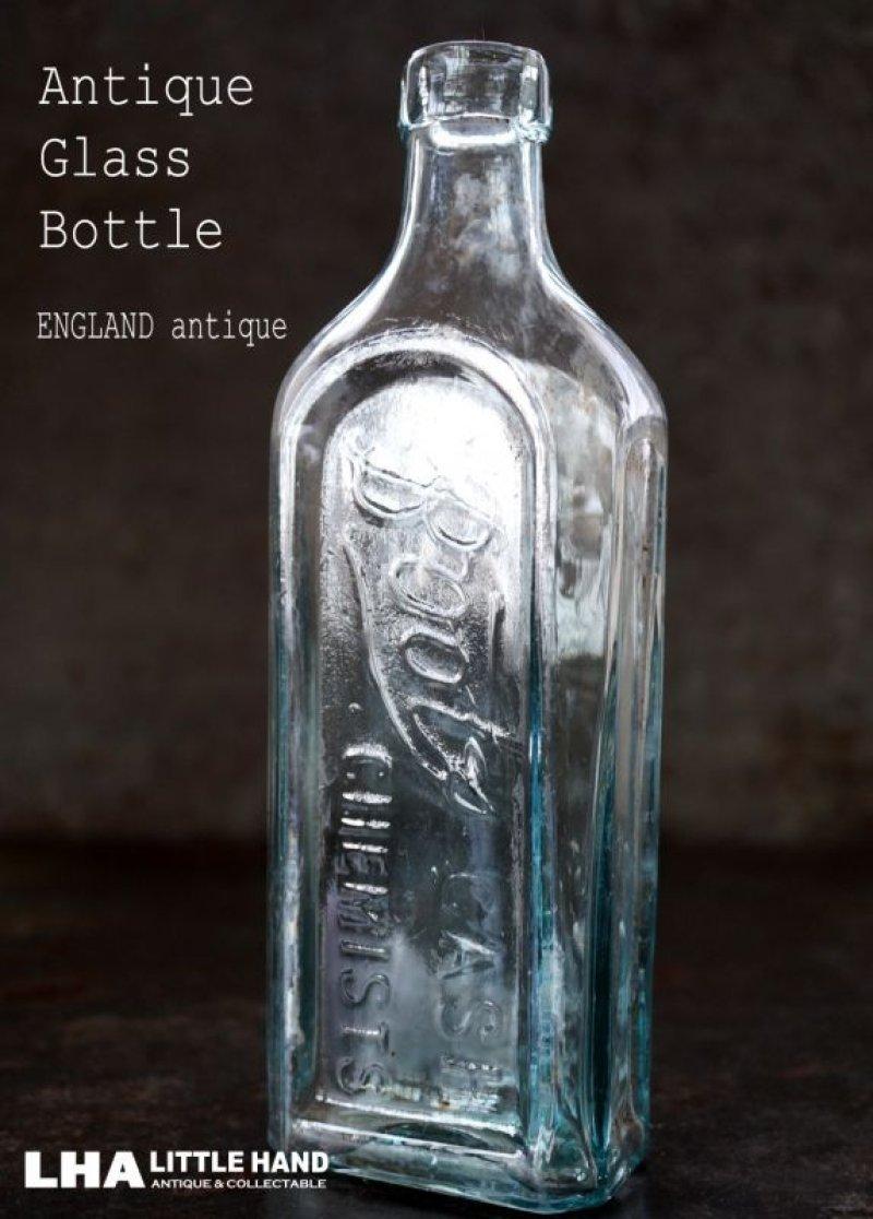 画像1: ENGLAND antique イギリスアンティーク 筆記体ロゴが素敵な【Boots】 ガラスボトル H19.2cm ガラス瓶 1920's