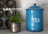 ENGLAND antique ホーロー キャニスター缶 TEA 1920-30's スカイブルー