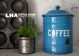 ENGLAND antique ホーロー キャニスター缶 COFFEE 1920-30's スカイブルー