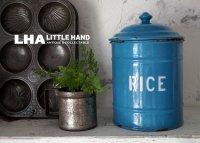 ENGLAND antique ホーロー キャニスター缶 RICE 1920-30's スカイブルー