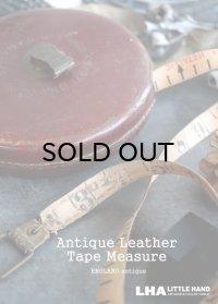 ENGLAND antique レザーケース テープ メジャー 巻尺 100FT 1900-30's