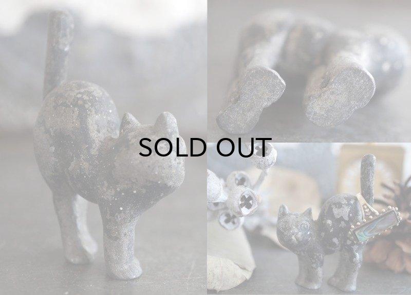 画像4: ENGLAND antique 小さなCATオブジェ H6.8cm かわいい猫の置き物 リングホルダー 1940-50's