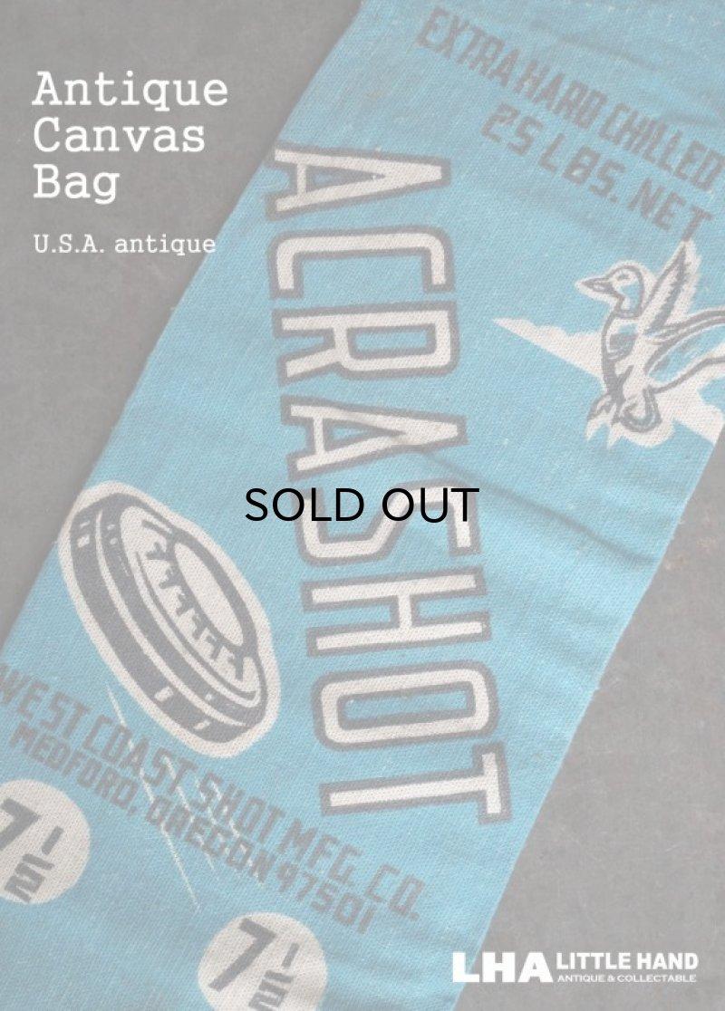画像1: USA antique ACRASHOT アドバタイジング キャンバス地 弾丸袋 バッグ 布袋 1950-70's