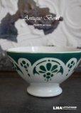 画像1: FRANCE antique モロッコ柄 大きなカフェオレボウル グリーン 1912-56's (1)