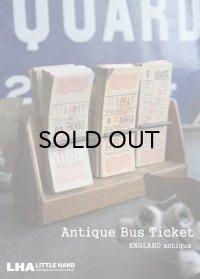 【RARE】ENGLAND antique LONDONバスチケット木製ホルダー&バスチケット 6セット 1920-50's