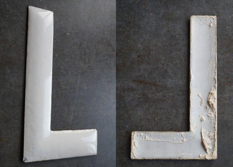 画像2: SALE 【30%OFF】 USA antique ホーロー アルファベット レターサイン 【L】(H15.2cm) 1950-60's