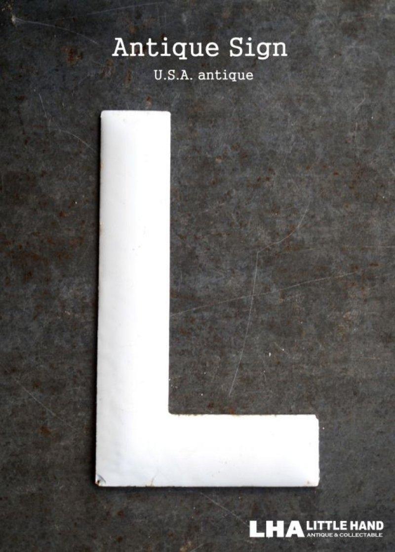 画像1: SALE 【30%OFF】 USA antique ホーロー アルファベット レターサイン 【L】(H15.2cm) 1950-60's