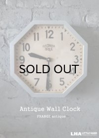【RARE】FRANCE antique BRILLIE wall clock オクタゴン クロック 掛け時計 26.3cm 1920-30's