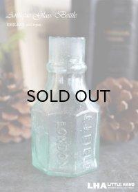 【RARE】ENGLAND antique J.J.FIELD LONDON エンボスロゴ入り ガラスインクボトル H8.3cm 瓶 1890-1910's