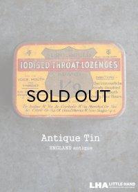 ENGLAND antique IODISED THROAT LOZENGES TIN ブリキ缶 1930's