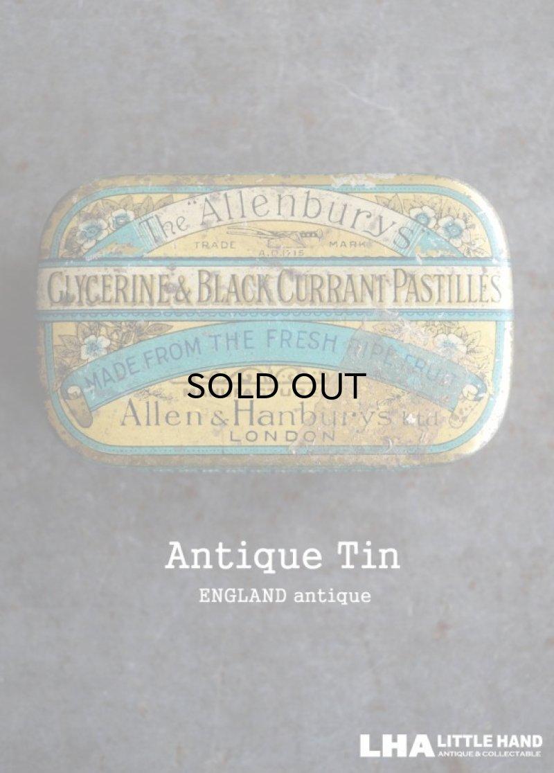 画像1: ENGLAND antique Allenburys GLYCERINE & BLACK CURRANT PASTILLES TIN ブリキ缶 1930's