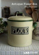 【RARE】ENGLAND antique アンティーク 小さめサイズ フラワー缶 インサイズド文字 FLOUR 1930's