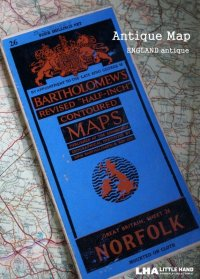 ENGLAND antique BARTHOLOMEW'S MAP [NORFOLK地方] アンティーク マップ 地図1946's