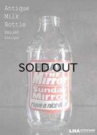 ENGLAND antique イギリスアンティーク アドバタイジング ガラス ミルクボトル ミルク瓶 牛乳瓶 1970-80's