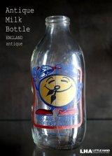 SALE 【20%OFF】 ENGLAND antique イギリスアンティーク アドバタイジング ガラス ミルクボトル ミルク瓶 牛乳瓶 1970-80's