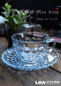 【Fire-king】 ファイヤーキング サファイヤブルー バブル カップ&ソーサー C&S 1941-68's