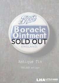 ENGLAND antique イギリスアンティーク Boots Boracic Ointment ティン缶 6cm ブリキ缶 1930's