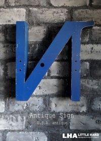 USA antique アメリカアンティーク 大きな メタル アルファベット レターサイン 【N】ラージサイズ(H45cm) 1950-70's