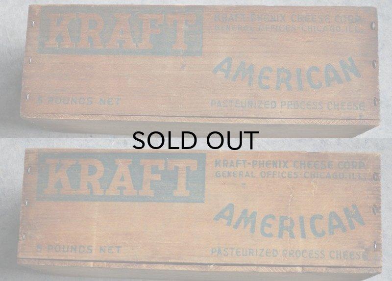 画像2: USA antique アメリカアンティーク KRAFT クラフト 木製 チーズボックス 5LBS 木箱 WOOD BOX 1920-40's