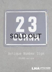 POLAND antique ポーランドアンティーク ホーロー ハウスナンバープレート サインプレート ナンバーサイン 看板 エナメル【23】1930-50's