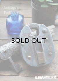 ENGLAND antique イギリスアンティーク 渋い重厚感 刻印入り ERA 大きなパドロック 鍵付 南京錠 1900-30's