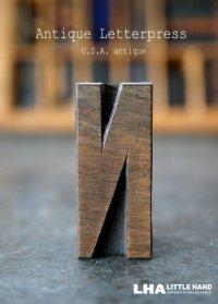 U.S.A. antique アメリカアンティーク 木製プリンターブロック【N】 H4.2cm スタンプ はんこ 数字 1900-40's
