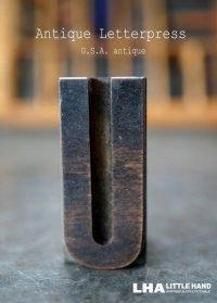 U.S.A. antique アメリカアンティーク 木製プリンターブロック【U】 H4.2cm スタンプ はんこ 数字 1900-40's