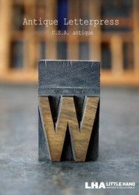 U.S.A. antique アメリカアンティーク 木製プリンターブロック【w】 H4.2cm スタンプ はんこ 数字 1900-40's