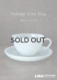 【Fire-king】 ファイヤーキング ターコイズブルー カップ&ソーサー C&S 1956-58's
