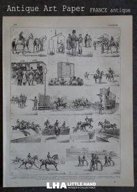 FRANCE antique ART PAPER  フランスアンティーク 辞書・図鑑の1ページ [馬レース] 描画 アンティークアート 1900's