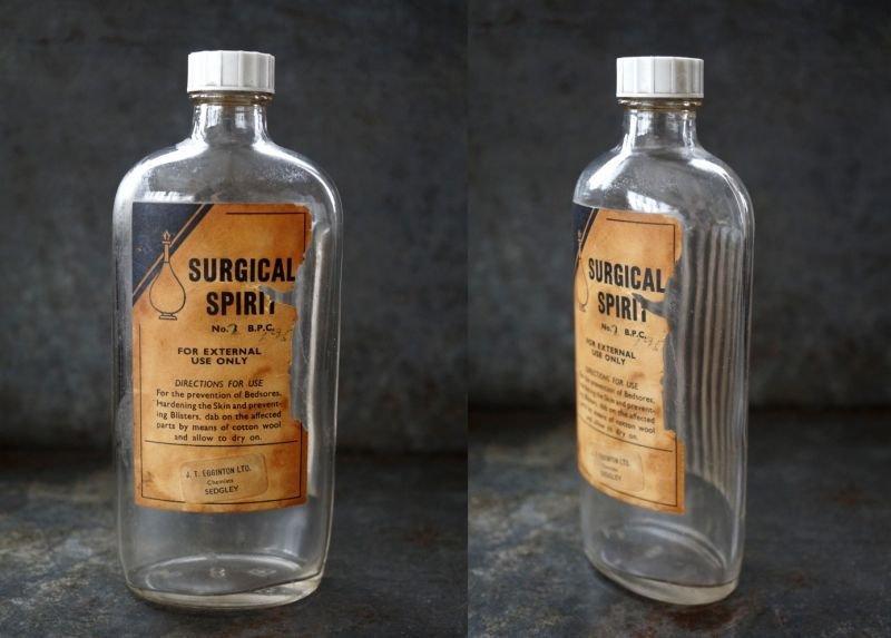 画像3: ENGLAND antique イギリスアンティーク ラベル・キャップ付き ガラスボトル H17cm ガラス瓶 1950's