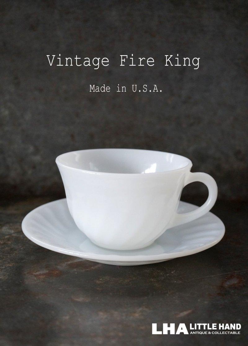 画像1: 【Fire-king】 ファイヤーキング ホワイト スワール カップ&ソーサー C&S 1951-60's