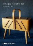 画像1: ENGLAND antique イギリスアンティーク ソーイングボックス 脚付き ソーイングケース 手芸箱 1950's (1)
