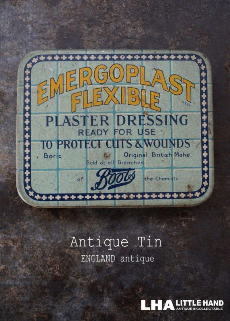 画像1: ENGLAND antique イギリスアンティーク Boots EMERGOPLAST FLEXIBLE ティン缶 ブリキ缶 1920-30's