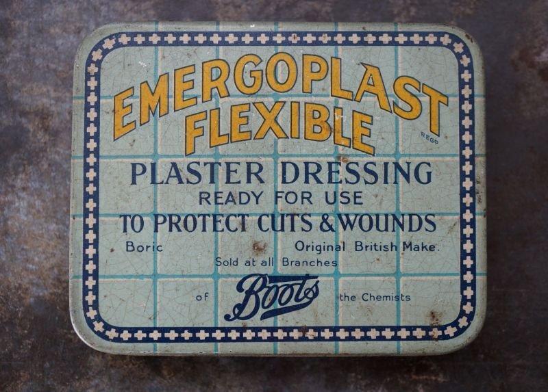 画像2: ENGLAND antique イギリスアンティーク Boots EMERGOPLAST FLEXIBLE ティン缶 ブリキ缶 1920-30's