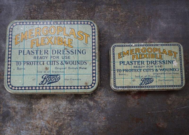 画像5: ENGLAND antique イギリスアンティーク Boots EMERGOPLAST FLEXIBLE ティン缶 ブリキ缶 1920-30's