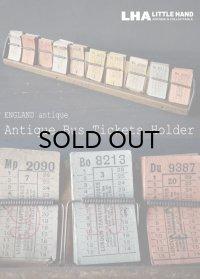 【RARE】ENGLAND antique LONDON イギリスアンティーク バスチケット 木製ホルダー&バスチケット 20セット ヴィンテージチケット 1920-50's