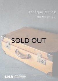 ENGLAND antique イギリスアンティーク ロゴ入り トランク・スーツケース バッグ ブラウン 茶 ヴィンテージ 1920's