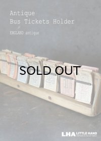 【RARE】ENGLAND antique LONDON イギリスアンティーク バスチケット 木製ホルダー&バスチケット 14セット ヴィンテージチケット 1920-50's