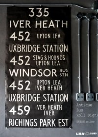 【RARE】ENGLAND antique BUS ROLL SIGN 1975's イギリスアンティーク バスサイン H171xW91cm ヴィンテージ バスロールサイン 行先回転案内標示